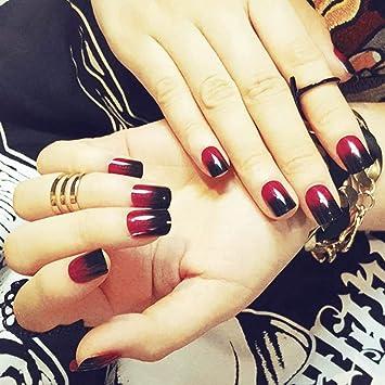 Amazon.com: Barode uñas postizas negro rojo degradado uñas ...
