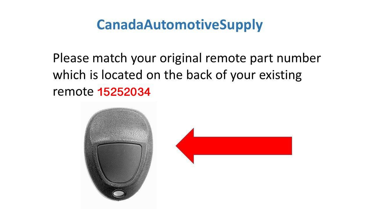 Canada Automotive Supply 2 New Keyless Entry 4 Button Remote Car Key Fobs for Select GM Chevrolet Pontiac Saturn Buick 15252034 KOBGT04A