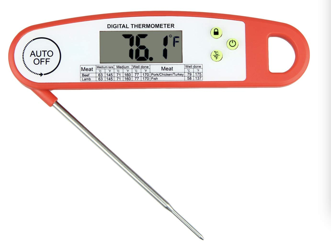 Electronic Food Thermometer for BBQ- Fast Read Cooking Thermometer with Hold Function Digital Kitchen Thermometer with Magnet Baking Thermometer for Candy and Frying Food Auto-off (BLACK)