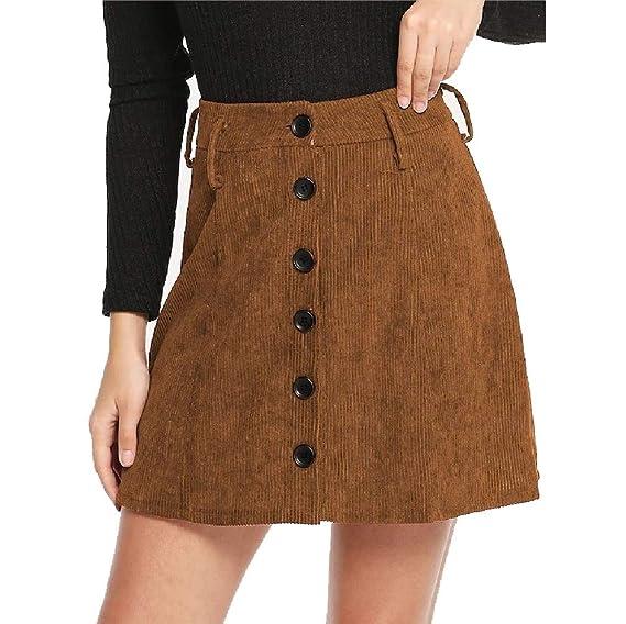 Doufine Mini Falda de Pana de Invierno para Mujer con un Solo ...