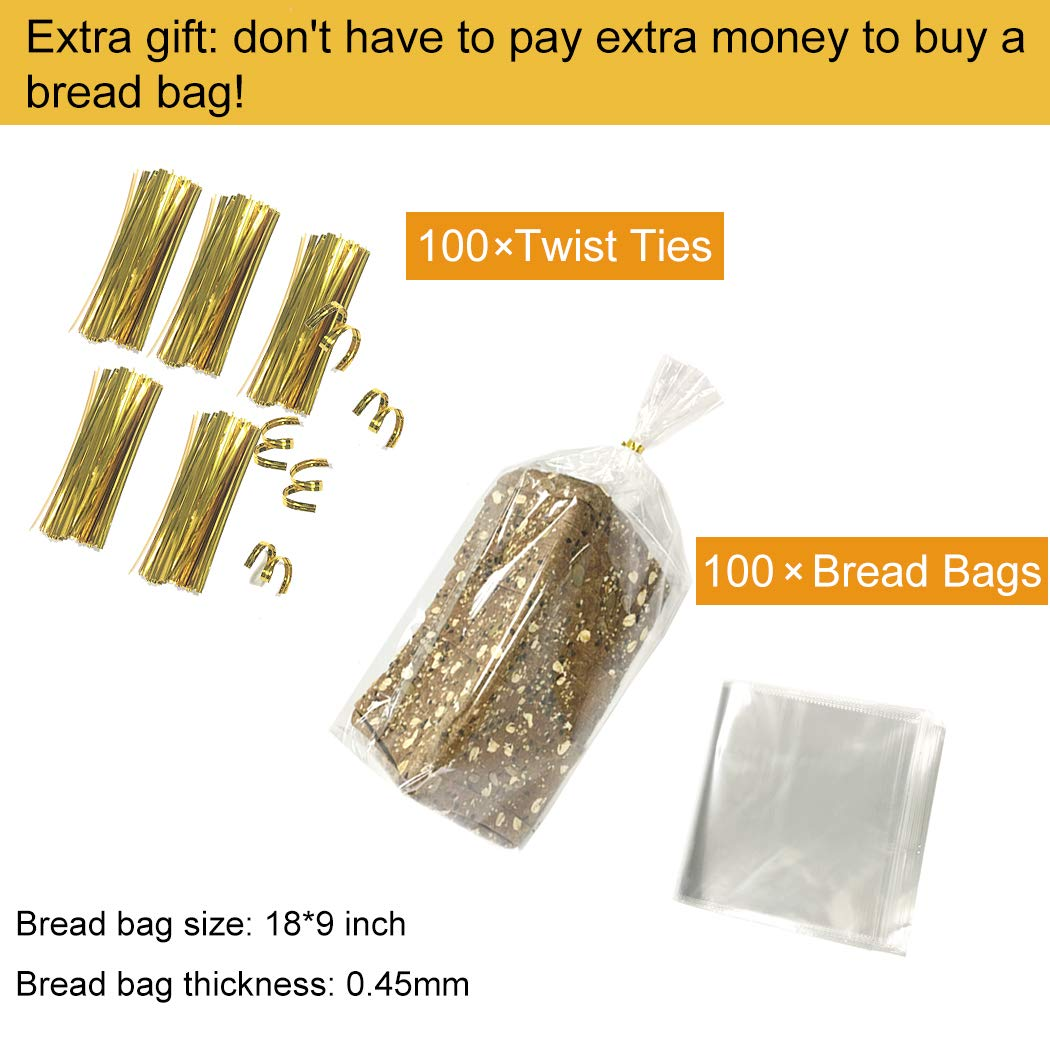 Bread Slicers for Homemade Bread with Crumb Catcher Tray, Compact Foldable Bamboo Bread Cutter Guide, 100 Bread Bags & 100 Twist Ties, Thickness Adjustable, Thick & Thin Slices 1/3'', 3/8'' and 1/2'' by FLAPRV (Image #4)