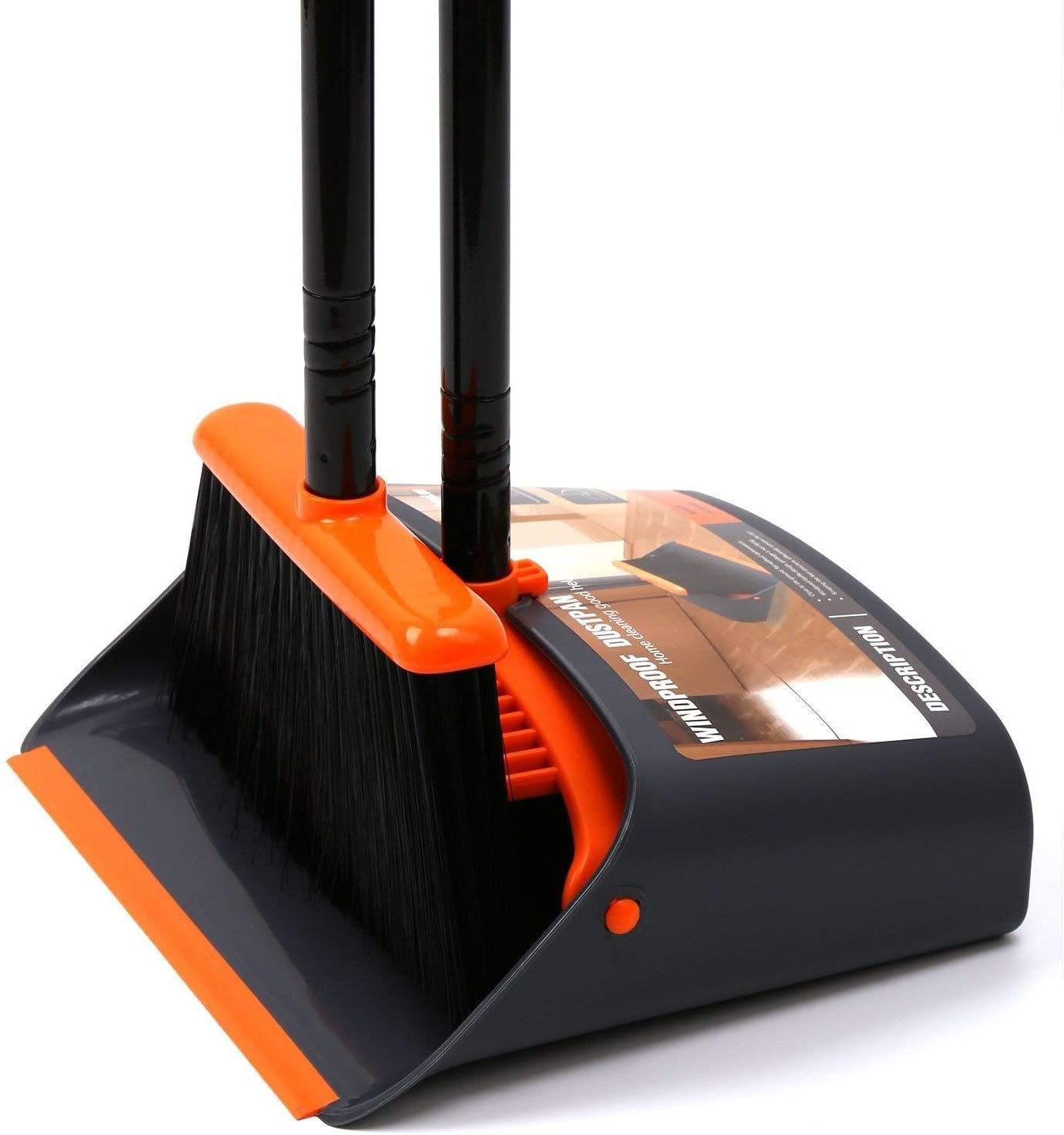 "Amazon.com: TreeLen Dustpan and Broom/Dustpan Cleans Broom Combo with 52""  Long Handle for Home Kitchen Room Office Lobby Floor Use Upright Stand Up  Broom and Dustpan Set: Home & Kitchen"