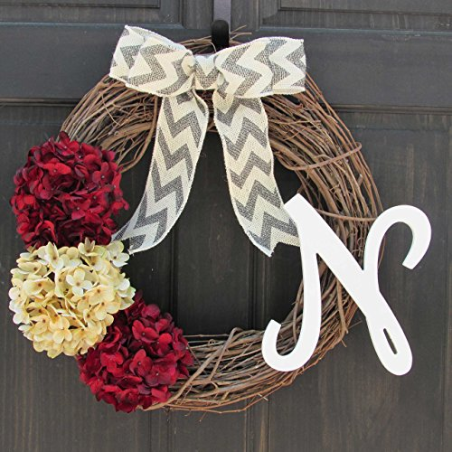 Personalized Hydrangea Grapevine Valentines Day Christmas Holiday Monogram Wreath for Front Door Decor; Initial Letter Choice; Burgundy Red and - Holiday Monogram