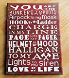 Firefighter Love Sign Word Art Painted Canvas