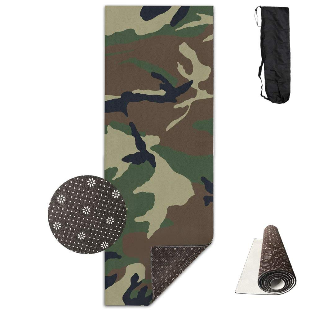 Camouflage Woodland Texture Deluxe,Yoga Mat Aerobic Exercise Pilates Anti-Slip Gymnastics Mats