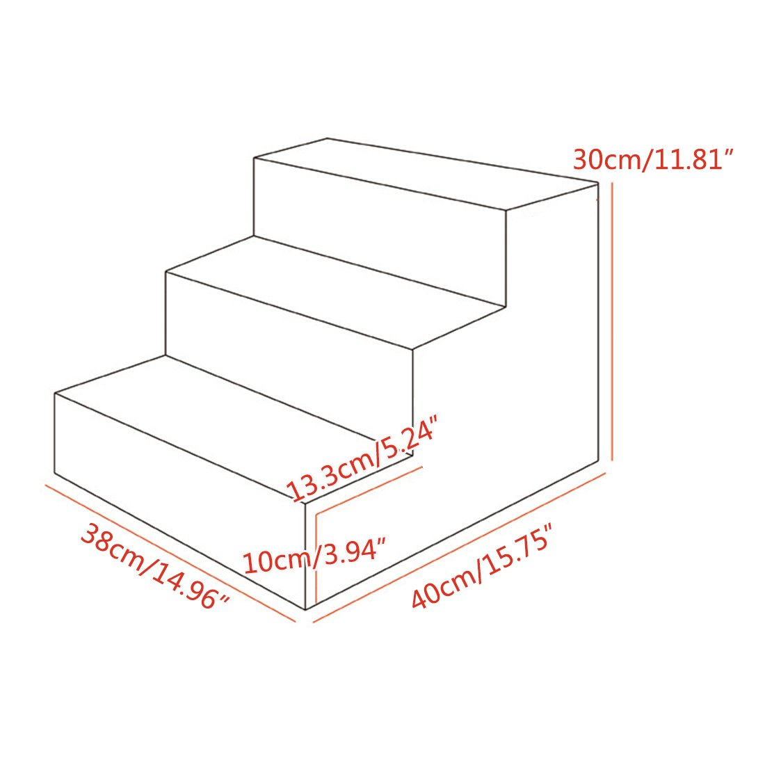 Bverionant 3 Steps Doggy Foam Pet Stairs Anti-Slip Ramp Waterproof Ladder for Small Dog Cat Coffee