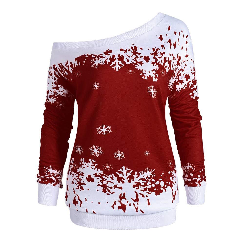 POTO Christmas Sweatshirt Plus Size, Women Christmas Snowflake Print Sweatshirts Off Shoulder Jumper Pullover Tops Blouse