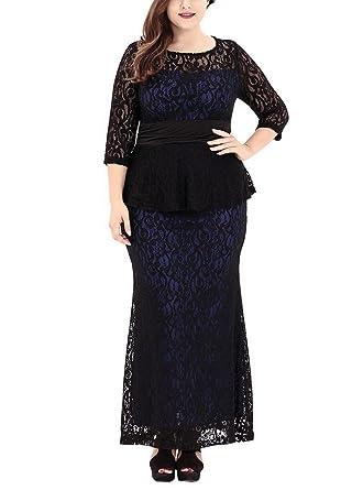 0834aaa69b35 Evedaily Damen Spitzenkleid Etuikleid Große Größen langarm festlich Kleid  Abendkleid
