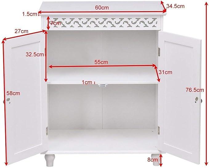 Commode avec 2 Portes Blanc Costway Meuble Salle de Bain Armoire de Rangementen Panneau MDF