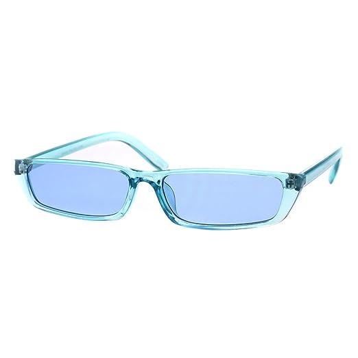 c9c072a08b Womens Pop Color Narrow Rectangular Cat Eye Clear Frame Plastic Sunglasses  Blue