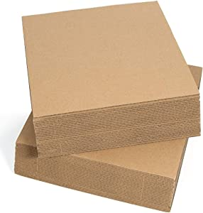 Sodaxx (Qty 50) Corrugated Cardboard Sheets 12 x 12 Inches Kraft Brown Flat Card Board Sheets, Paper Cardboard Inserts for Packing, Mailing, Crafts, Square Size