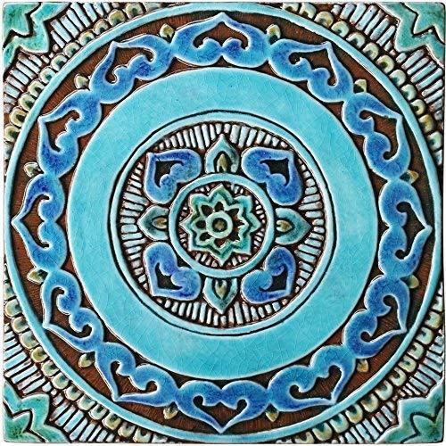 . Amazon com  Wall tile 11 8  with Mandala Design glazed in Turquoise