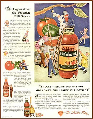 (Cute 1943 AD for SNYDER'S Old Fashioned Chili Sauce Original Paper Ephemera Authentic Vintage Print Magazine)