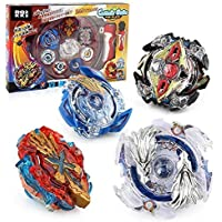 ROKK NOW Bey Battle Burst Gyro Blades Evolution Metal Fusion Attack Top Set with Launcher Grip and Starter Bey Stadium Battle Set