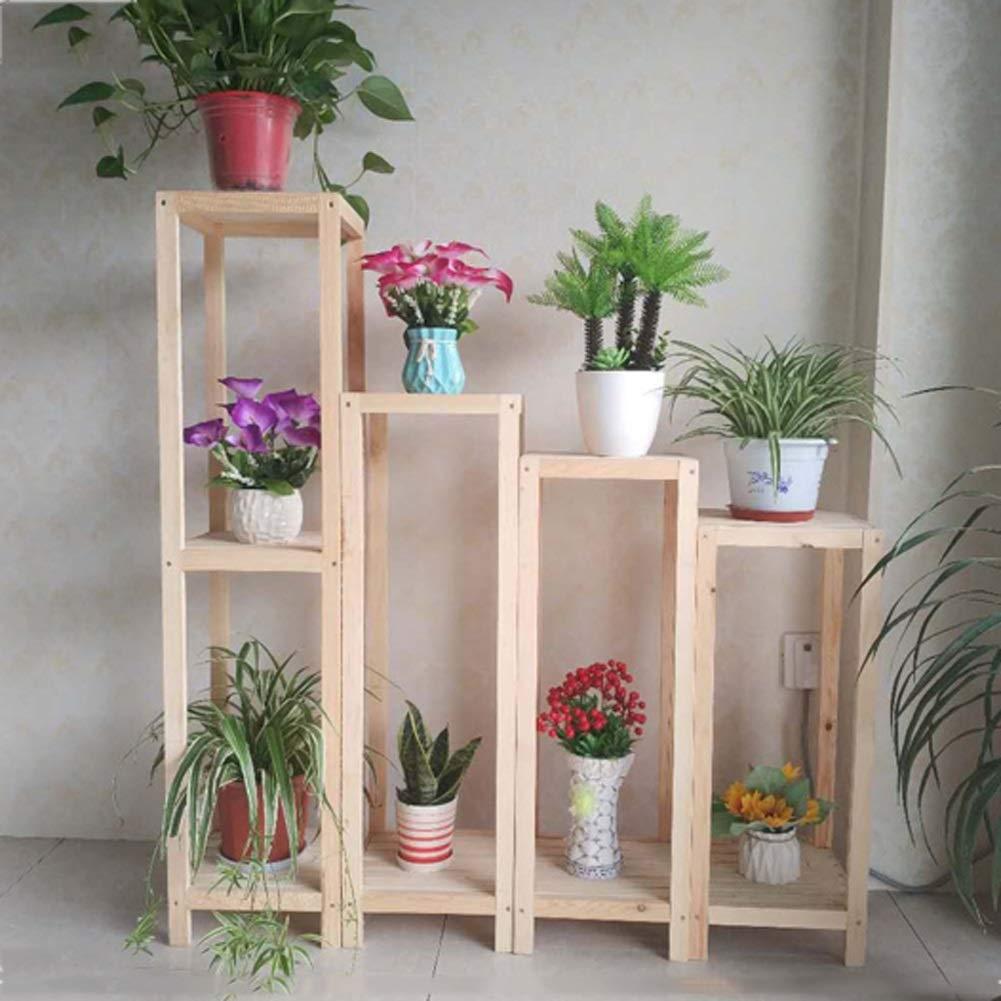B 2828120CM Flower racks - Solid Wood Flower Stand Balcony Floor Flower Pot Rack Multi-Layer Living Room Simple Indoor Plant Shelf (color   B, Size   28  28  120CM)