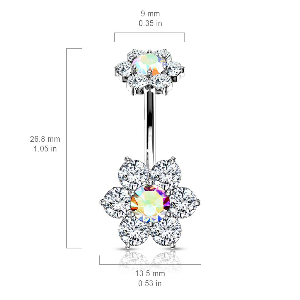 Sold Per Piece Dynamique 7 CZ Flower with Internally Threaded CZ Flower Top 316L Surgical Steel Belly Button Ring