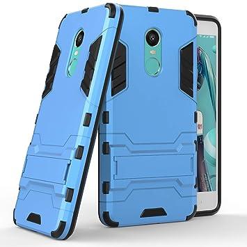 Max Power Digital Funda Carcasa Xiaomi Redmi Note 4/4X Tipo Hybrid Iron Man Antigolpes Híbrida Armadura Robusta con Pata Trasera (Azul)