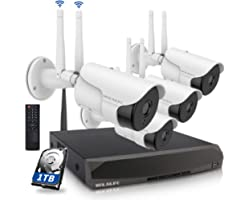 [5.0MP Two Way Audio] Wireless Security Camera System, 8 Channel Surveillance NVR Recorder and 4Pcs 5.0MP Home Outdoor Motion