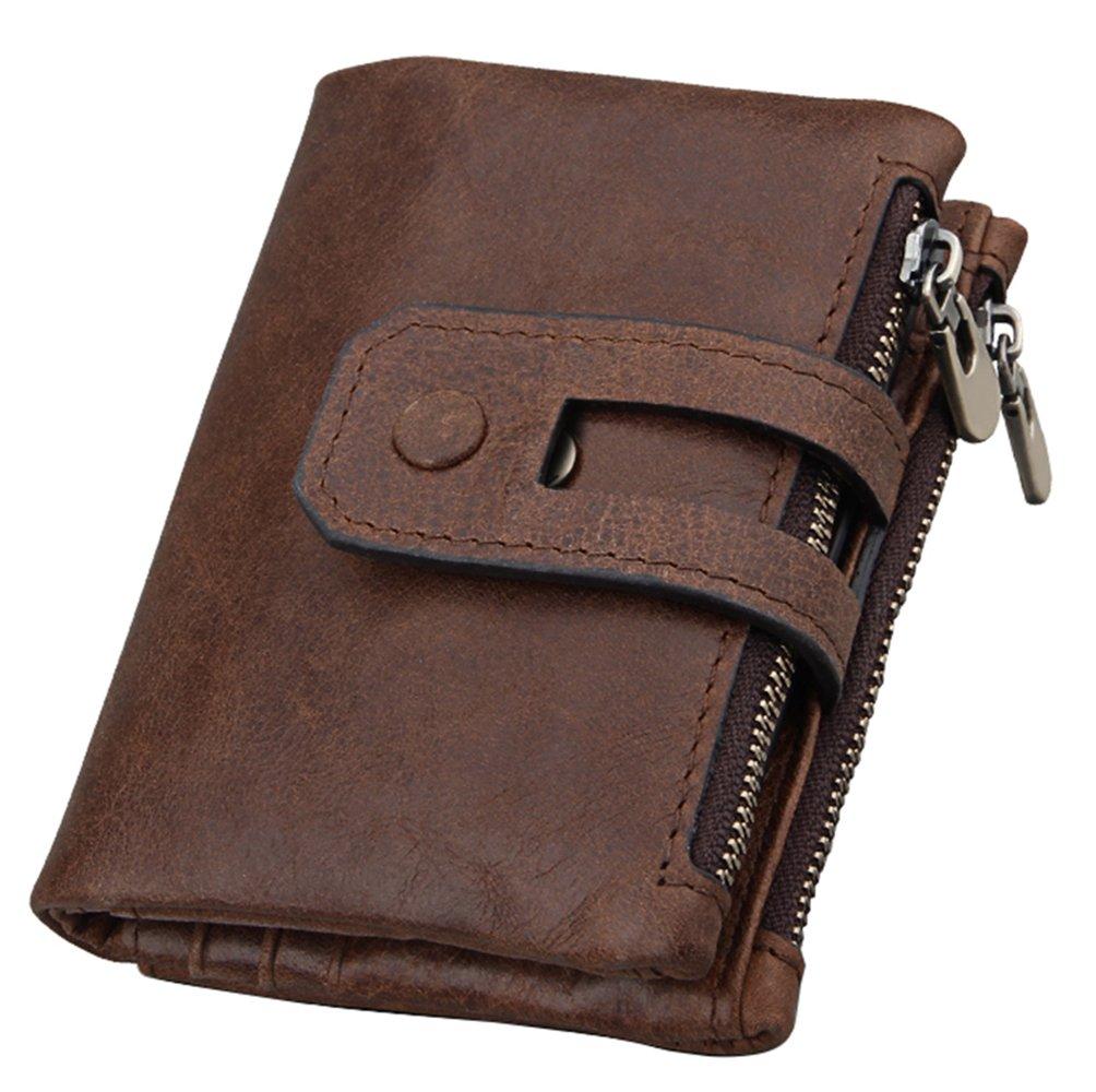 iSuperb Men's RFID Blocking Wallet Bifold Short Purse Multi Card Organizer with Double Zipper (Coffee) by iSuperb (Image #1)