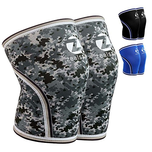 - Z ZEALSPOT Knee Sleeves-Compression and Support for Weightlifting, WOD, Squats, Gym, Powerlifting and Crossfit-7mm Neoprene Strong Knee Brace-Both Women and Men,Camo Grey(1 Pair) (X-Small)