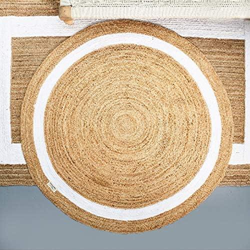 Riviera Maison Rocat Round - Alfombra (160 x 0,5 cm, Yute/algodón ...