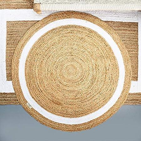 Riviera Maison Rocat Round - Alfombra (160 x 0,5 cm, Yute/algodón): Amazon.es: Hogar