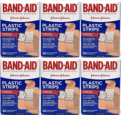(Band-Aid Plastic Strips Adhesive Bandages, Assorted Sizes, 30 Count (Pack of 6) )