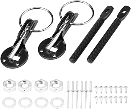 S SIZVER Universal JDM Black Aluminum Hardware Bonnet Racing Hood Pin Lock Appearance Kit