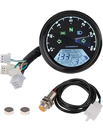 Motorcycle Tachometer Speedometer, Digital LCD Odometer Universal 12V Scooter Backlit Speed Gauge Gear Oil Meter