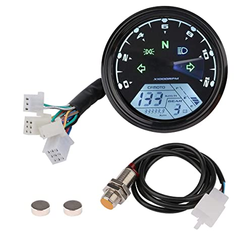 Sdootauto Digital Speedometer Tachometer, 199 KMH MPH 12000 RMP LCD  Odometer for 4 Stroke 1/2/4 Cylinders Motorcycle for Honda Motorcycle  Sctoor Golf