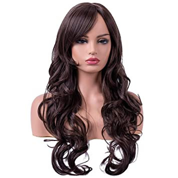 ... Long Curly Wavy Dark Brown Wigs for Women Ladies Synthetic Full Hair  Chocolate Lolita Brunette Wig with Bangs for Cosplay Costume or Daily Life    Beauty b8594fd46