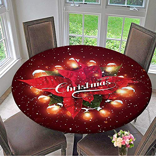 """Mikihome Round Premium Table Cloth Merry Christmas Christmas Light Wreath with Snow and Poinsettia Flowers Vector Holiday Perfect for Indoor, Outdoor 50""""-55"""" Round (Elastic Edge)"""