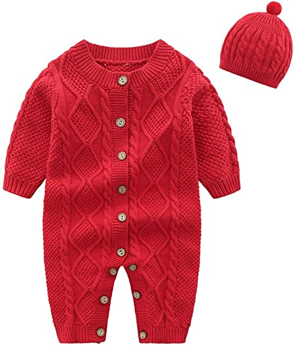 Infant Baby Boy Girl Winter Clothes Knitted Romper Bodysuit Jumpsuit Outfits Set