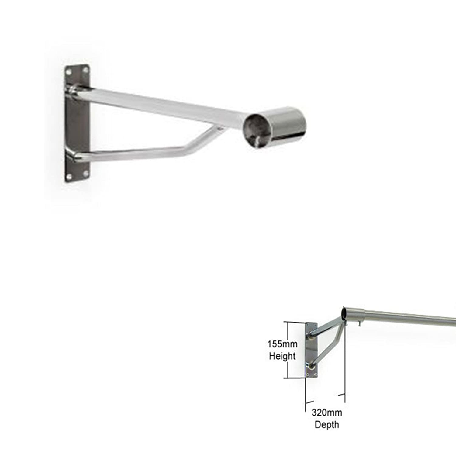 1, 32mm Complete Retail Solution Ltd WALL MOUNTED CLOTHES RAIL BRACKET SCREW FIX CHROME HANGING ARM FIT SIZE 25/&32 mm