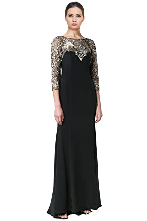 Marchesa Notte - Embroidered Tulle High-Low Gown w/ Corset Bodice (Black)