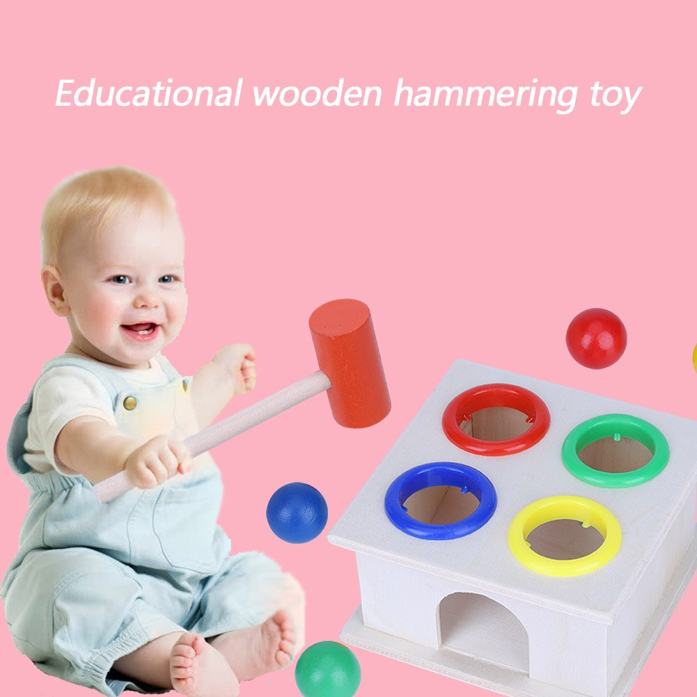 Anni Giocattolo Legno del Martello Apprendimento dei Martelli Interessante Gioco per Desktop Educativo Precoce Giocattoli Cognitivi Regalo Natale Compleanno per Bambini 3