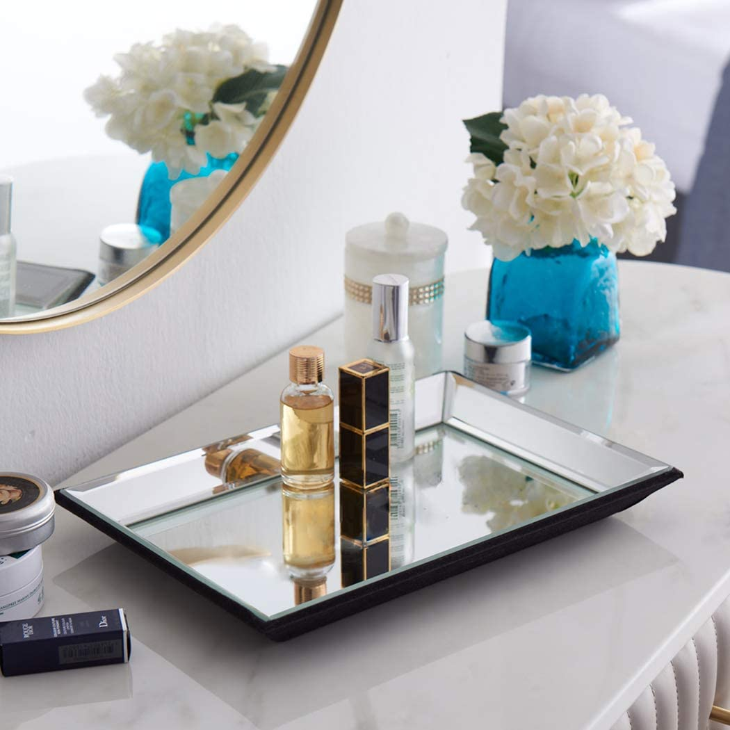Meetart Tawny Yellowish-Brown Golden Tea Color Rectangle 21x30 cm Vanity Organizer Decorative Mirror Tray Vanity Tray Markup Jewelry Tray for Home Decoration