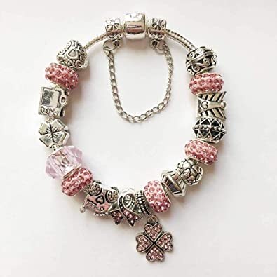 e51fca096 Pandora Style Charm Bracelet Non Tarnish Silver Plated Fashionable and  Trendy Style Pink Charm Bracelet