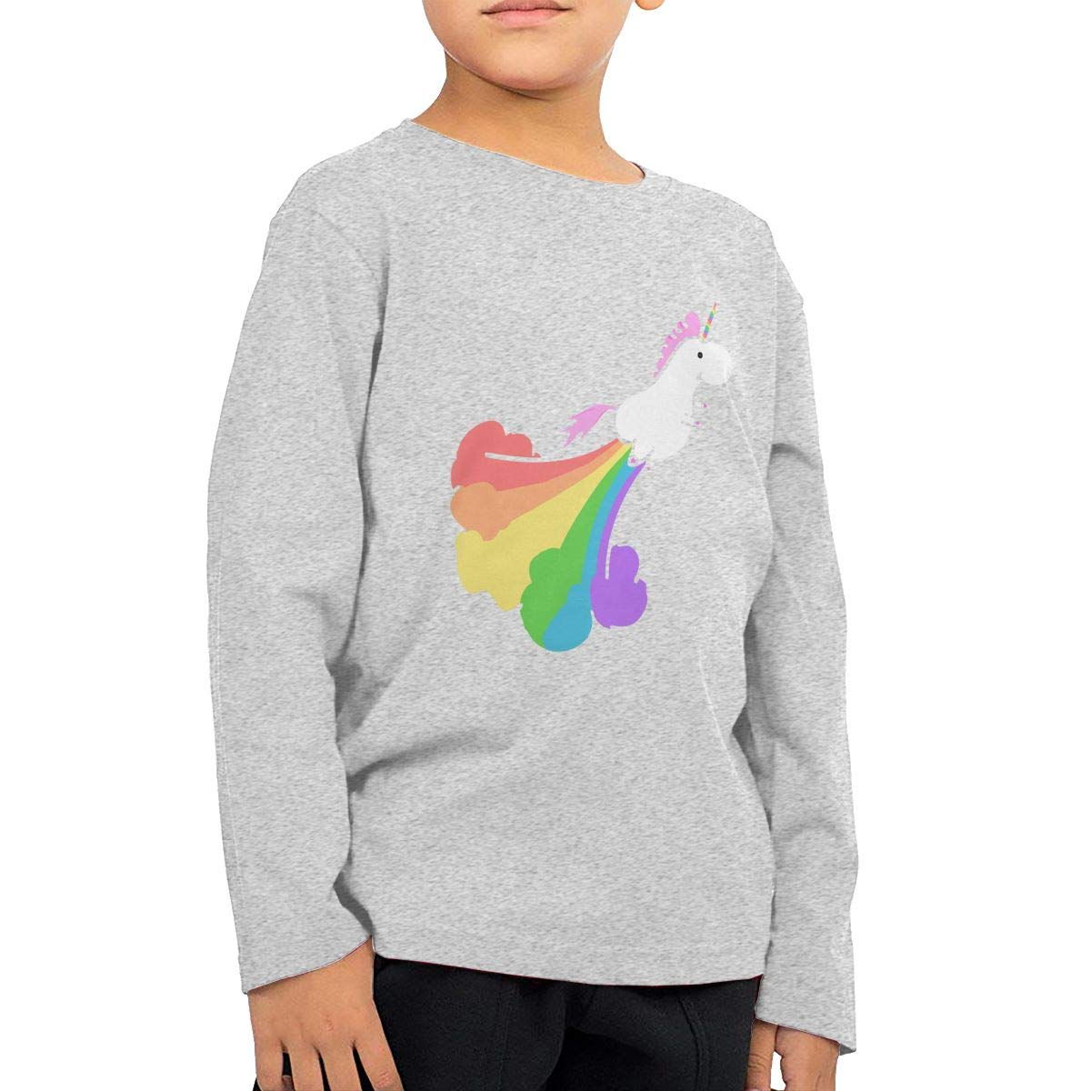 Fart Rainbow Unicorn Childrens Gray Cotton Long Sleeve Round Neck T Shirt for Boy Or Girl
