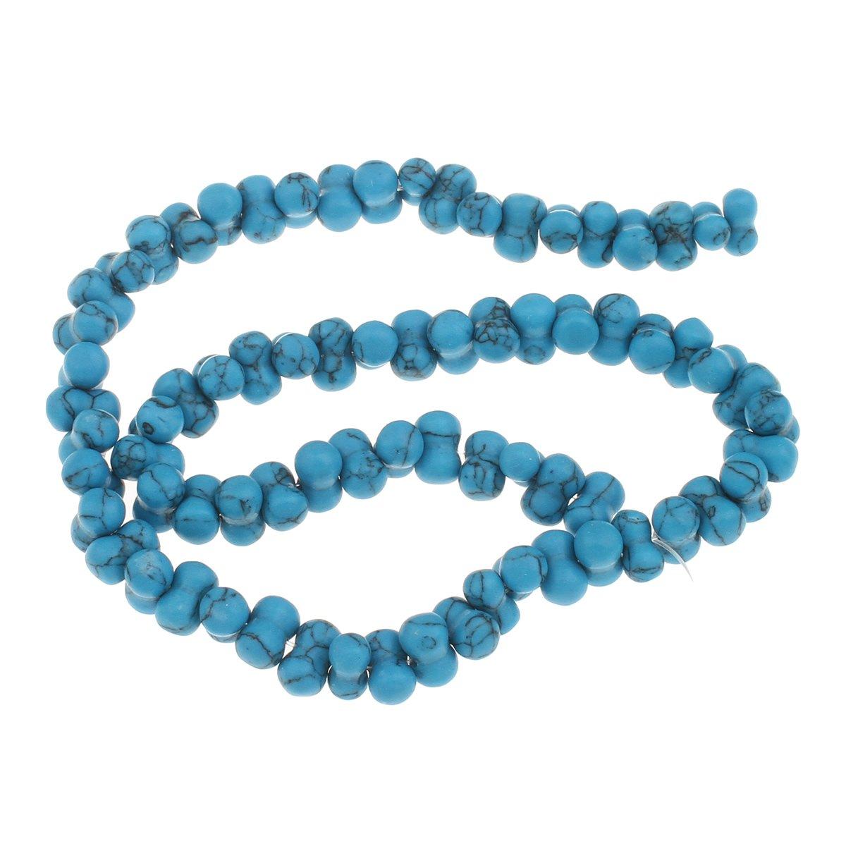 30 Türkis Edelstein Perlen Blau Naturstein Knochen 10mm für Schmuck G981