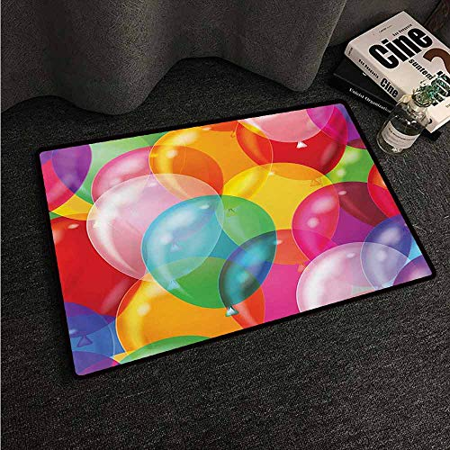 HCCJLCKS Front Door Mat Large Outdoor Indoor Children Balloons Pattern Colorful Illustration Birthday Celebrating Theme Childhood Fun Easy to Clean Carpet W30 xL39 -