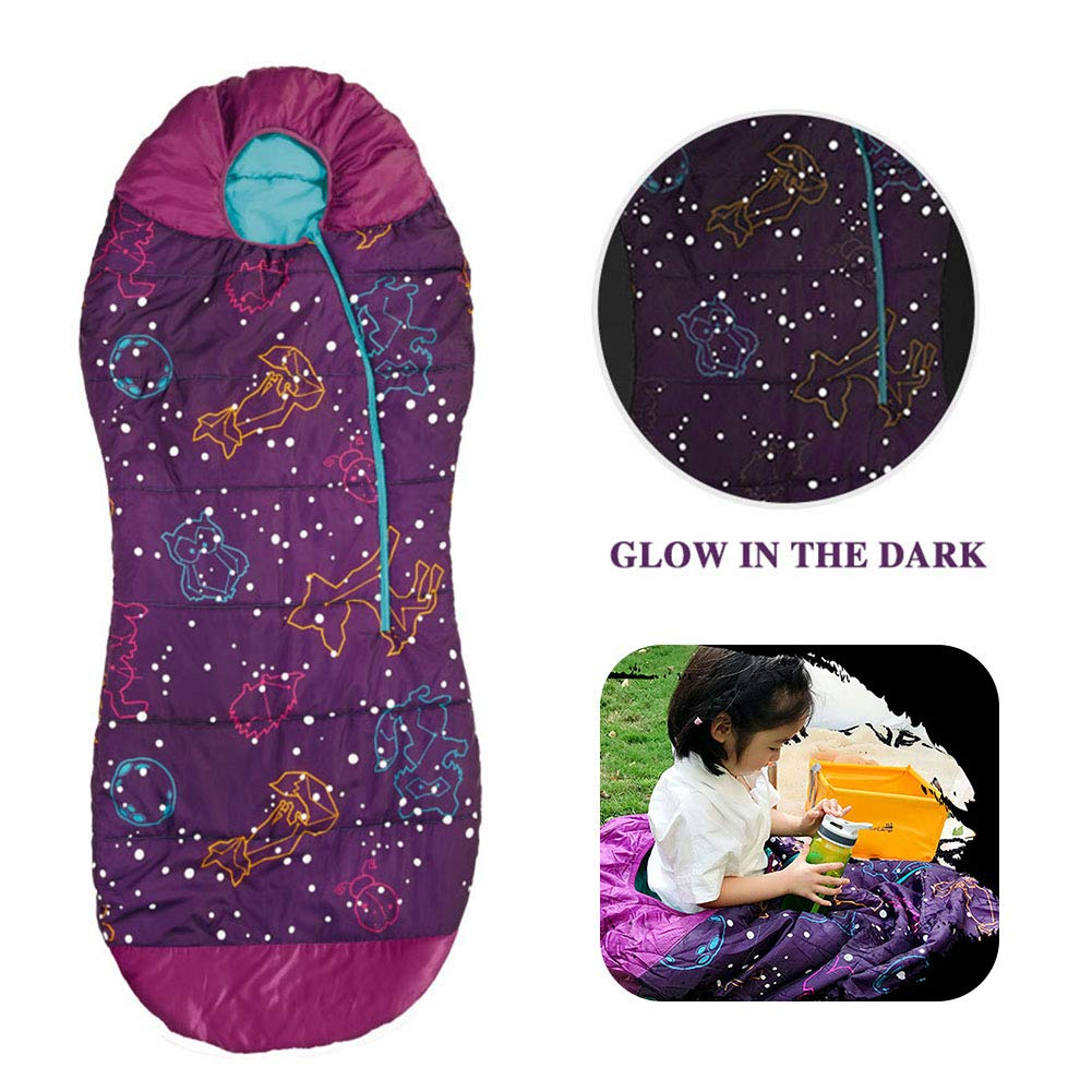 AceCamp Kids Sleeping Bags for Boys Girls Glow-in-The-Dark Sleeping Bag Blue Purple Mummy Style Toddler Extreme Temp Rating 30F/ -1C Great for Slumber Party/Travel/Camping - (Purple - Kids) by AceCamp