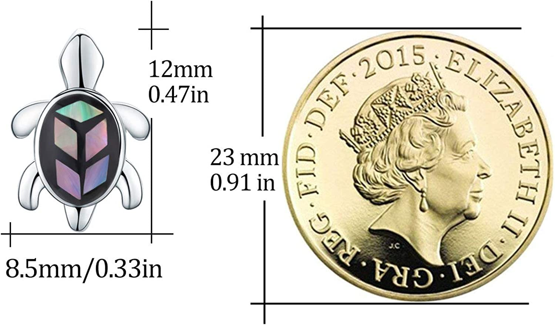 Boucles doreilles /à tige pour filles Cadeau pour enfants Boucles doreilles tortues en argent sterling 925 ormeau pour femme