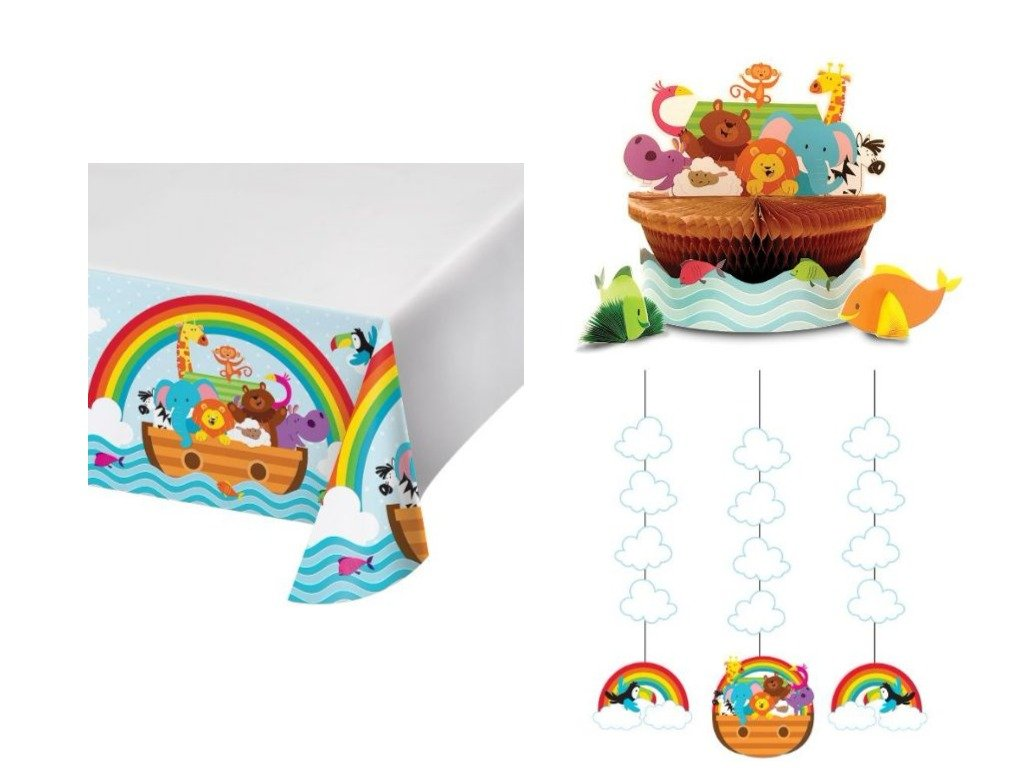 Noah's Ark Animals Baby Shower Decoration Party Pack includes Centerpiece, Table Cover and Danglers