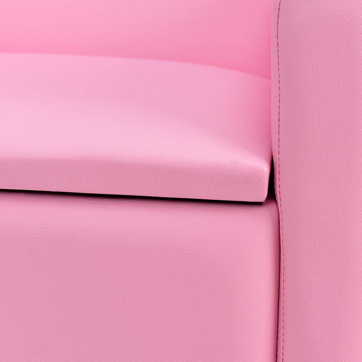 HONEY JOY Kids Sofa, Upholstered Armrest, Sturdy Wood Construction, Toddler Couch with Storage Box (Single Seat, Pink) by HONEY JOY (Image #6)