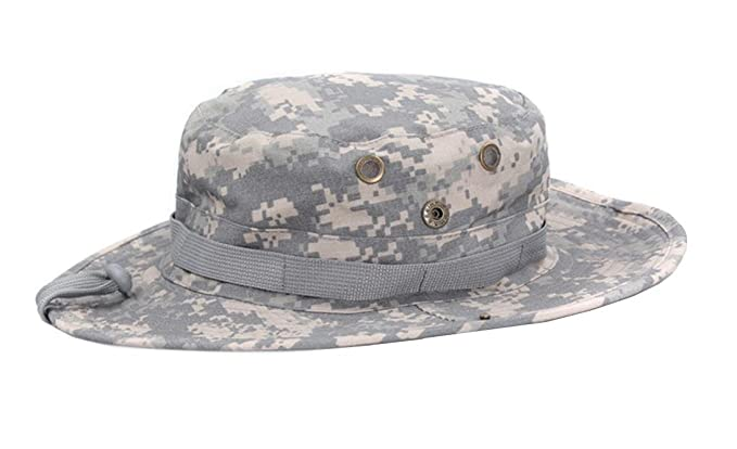 Bucket Hat Boonie Hunting Fishing Outdoor Men Cap Tactical Combat Wide Brim  Caps (ACU Camo 78eba8fcc582
