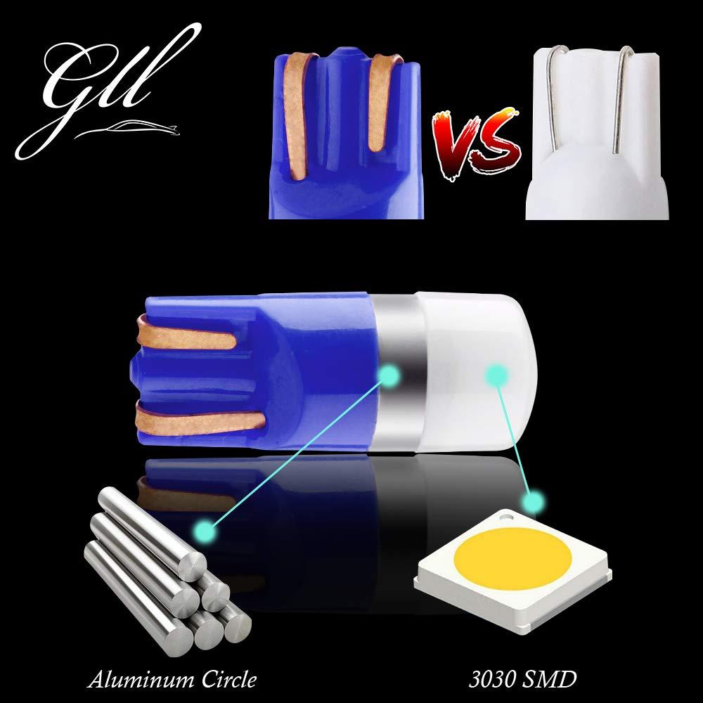 GLL T10 501 Lampadine a LED Rosso W5W 194 168 2825 Lampadine Senza Tappo a Cuneo T10 3030-1SMD per Interni Auto Cupola Luce Cruscotto Luce di Posizione del Bagagliaio Laterale
