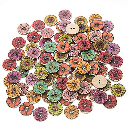 EMAAN 20mm Vintage Wood Button,Flower Pattern 2 Hole Round Craft Button Sewing DIY Crafts Decoration, Random Shining Sewing Crafting Pack of 100pcs