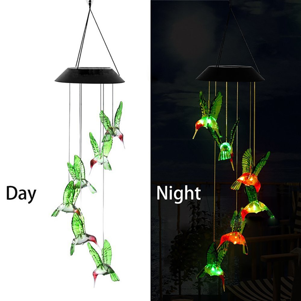 Solar Powered Wind Chime, FOME Solar Power Mobile Wind Chime LED Night Light Hanging Lights Color Changing Wind Spinner t Waterproof Six Hummingbird Wind Chimes for Home Party Night Garden Decoration