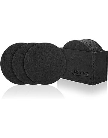 Mitavo - Posavasos de Fieltro Redondos – Juego de 10 Premium con Caja, Posavasos de